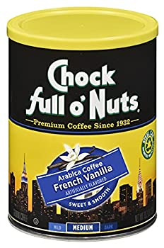 Chock Full o'Nuts French Vanilla Flavored Ground Coffee  10.2 Oz Can  - Premium Coffee Beans