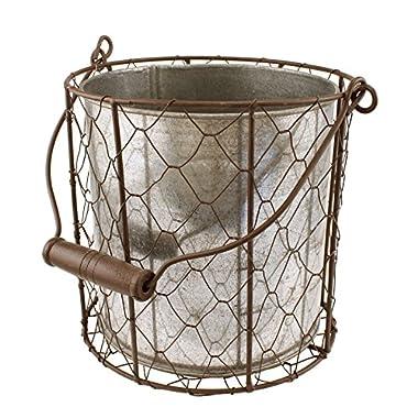 MayRich 6.5'' Tall Chicken Wire Basket, Tin Insert, with Handle