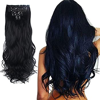 Lelinta 7Pcs 16 Clips 24 Inch Wavy Curly Full Head Clip in on Double Weft Hair Extensions Dark Black 24 Inch