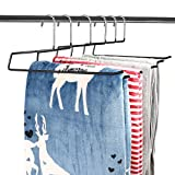 DOIOWN Blanket Hangers Comforters Hangers Heavy Duty Stainless Steel Hangers with Black Vinyl Coating Non Slip Organizer Hangers for Quilts, Bedding,Towels, Table Clothes, Rugs (6 Pack)