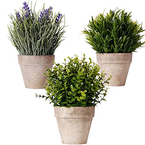 Bulexy Artificial Mini Potted Plants, Set of 3 Faux Eucalyptus Grass Lavender Plants Greenery in Pots Small Houseplants for Indoor Kitchen Dining Room Office Tabletop Centerpiece Decorations