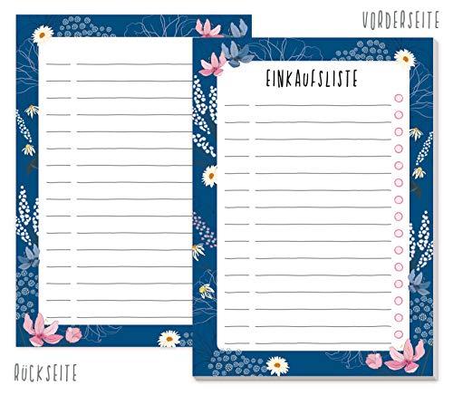 A6 Einkaufsliste Block [Dark Flower] mit 50 Blatt zum Abreißen | Einkaufszettel Notizblock von Trendstuff by Häfft | So macht Einkaufen Spaß! Klimaneutral & nachhaltig