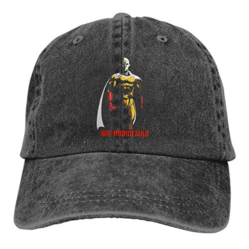 One Punch Man Hat Adult Adjustable Mountaineering Fashion Washed Denim Casquette Caps for Outdoor Black