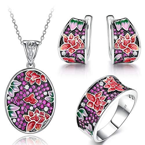XIRENZHANG Conjunto de joyas de plata de ley 925, color rubí loto y colgante, pendientes y anillo, juego de tres piezas, morado 8#