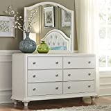Liberty Furniture Stardust Dresser & Mirror, W58 x D18 x H71, White