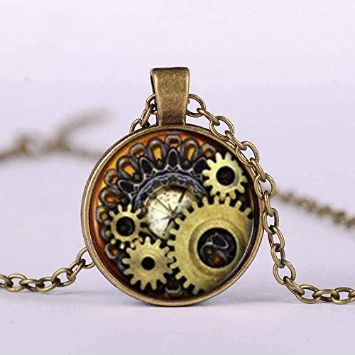 NONGYEYH co.,ltd Collar Collar Vintage Mecánico Engranaje Imagen de Arte Gema de Vidrio Collar Pend Steampunk Relojes de Bolsillo Forma de Reloj Collar de Cadena Larga