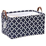 Sea Team Moroccan Pattern Canvas Fabric Storage Basket Collapsible Geometric Design Storage Bin with Drawstring Cover and PU Leather Handles, 16.5 by 11.8 inches, Waterproof Inner