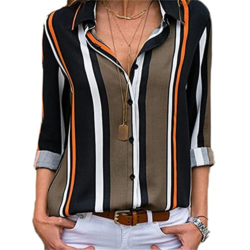 Ropa de Mujer Camisa Blusa de Rayas Tops Camiseta con Cuello en V Camiseta Suelta Casual de Gasa de Manga...