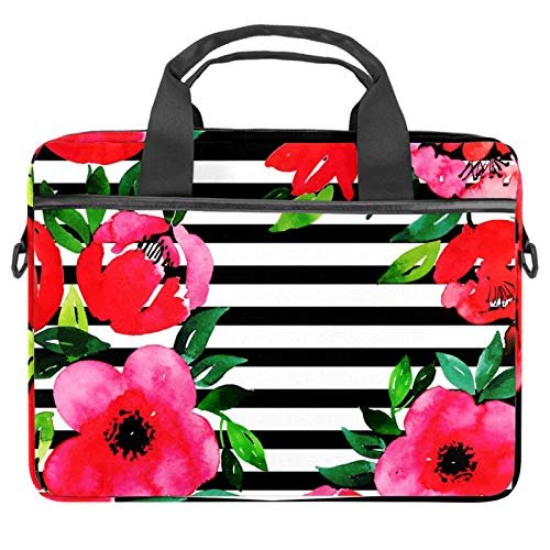 Laptop Bag Flower Floral Stripe Notebook Sleeve with Handle 13.4-14.5 inches Carrying Shoulder Bag Briefcase
