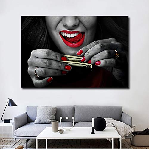Ragazza Sexy Che USA i Soldi Wall Art Canvas da Stampare sul Muro Pittura Moderna Poster Decorazione Soggiorno Pittura 50x75cm