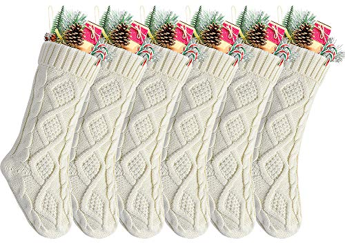 Kunyida Pack 6,18' Unique Ivory White Knit Christmas Stockings, Style2