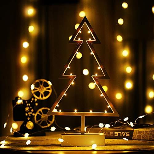Kerstverlichting kerstboom vorm romantisch LED-snoer feestdaglicht met houder warm fee decoratieve lamp nachtlampje voor kerst/bruiloft/slaapkamer (warmwit)