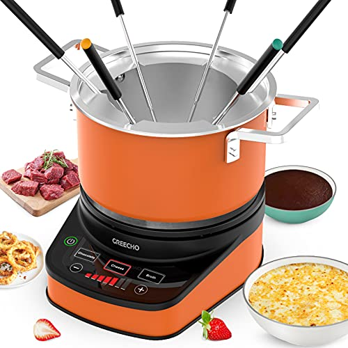 GREECHO Digital Electric Fondue Set — 2.6 Quart Fondue Pot of Stainless Steel Cookware With Temperature Control, 1200W Fondue Cheese for Electric Countertop, Melting Chocolate Maker, Vibrant Orange