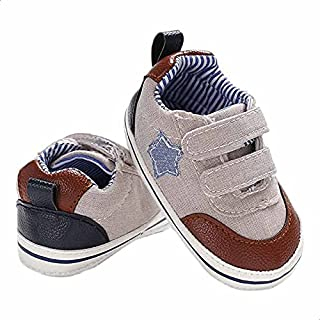 Mix and Max Pull-Tab Star-Patch Low-Top Velcro-Strap Shoes for Boys - Beige, 9-12 Months