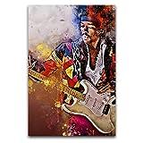 Jimi Hendrix Poster gedruckt auf Leinwand, Wanddekoration,