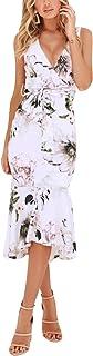 فساتين HOOYON للفتيات مطبوع عليها زهور بأكمام قصيرة كاجوال صيفي طويل بجيوب فستان ماكسي