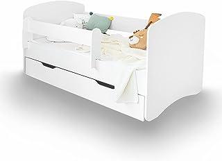 ALCUBE Kinderbett Ivan 80 x 180 cm in weiß - Der All-Rounder mit Rausfallschutz, Lattenrost und Bettkasten - Kinderbetten für Mädchen und Junge