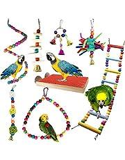 PietyPet Giochi per Uccelli pappagalli, 8 Pezzi Trespoli e posatoi Giocattoli Gabbia, Colorato Legno Scalette Giocattolo, Corda Perch per Piccoli e Medio Uccelli Parrocchetti
