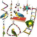 Juguetes para Pájaros, PietyPet 8 Piezas Perchas Pájaros Juguetes con Campanas, Escalera...
