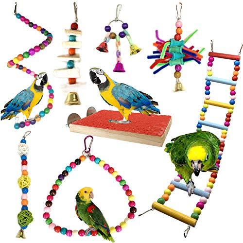 PietyPet Juguetes para Pájaros, 8 Piezas Perchas Pájaros Juguetes con Campanas, Escalera de Madera, Columpios, Hamaca de Madera, Que cuelga la Perca Juguete para pequeños y medianos Loros de Aves