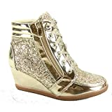 Forever Link Peggy-44 Women's Fashion Glitter High Top Lace Up Wedge Sneaker Shoes (9 B(M) US, Gold)