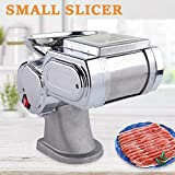 600W 110V 55kg/h Commercial Meat Slicer Stainless Steel Beef Pork Fresh Electric Full Automatic Frozen Meat Cutting Shredding Machine Thickness Adjustable 1.7MMBlade USA Stock