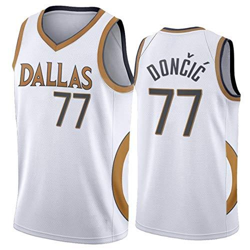 YPKL Camiseta Luka Doncic, temporada 2021 Dallas Mavericks 77# City Edition, camiseta de baloncesto retro transpirable (S-XXL), color blanco y XL