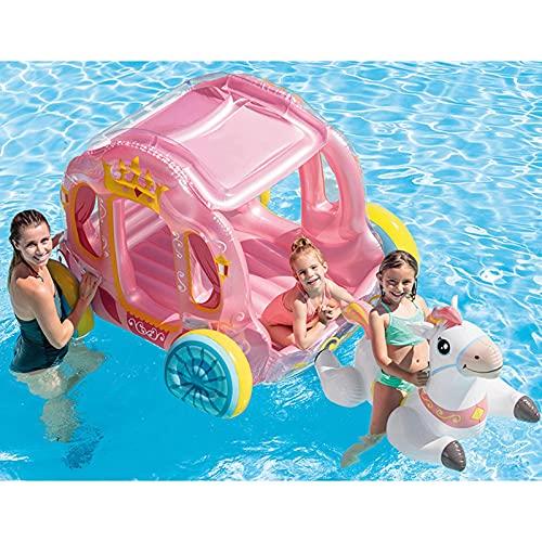 Carro Inflable De La Princesa, Flotador Inflable De La Piscina Al Aire Libre Y En Interiores Piscina De Playa Flotadores Para Niños Y Adultos Con Válvulas Rápidas,Pink