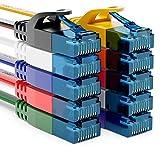 deleyCON 10x 0,25m CAT6 Cable de Red Plano Cable de Cinta de 1,5mm...