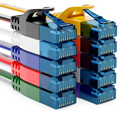 deleyCON 10x 2m CAT6 Flaches Netzwerkkabel 1,5mm Flachkabel Flachbandkabel U-UTP RJ45 - UUTP Patchkabel für DSL LAN Switch Router Modem Repeater Patchpanel - Bunt
