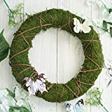 """Efavormart 2 Pack   14"""" Green Preserved Moss Wreaths with Natural Twig Wraps for Wedding Decoration Party Centerpiece Decor"""