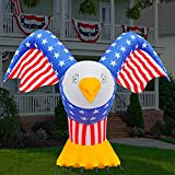 BLOWOUT FUN 5.5ft Tall Patriotic Independence Day 4th of July Inflatable Eagle with America Style LED Blow Up Lighted Decor Indoor Outdoor Holiday Art Decor Decorations