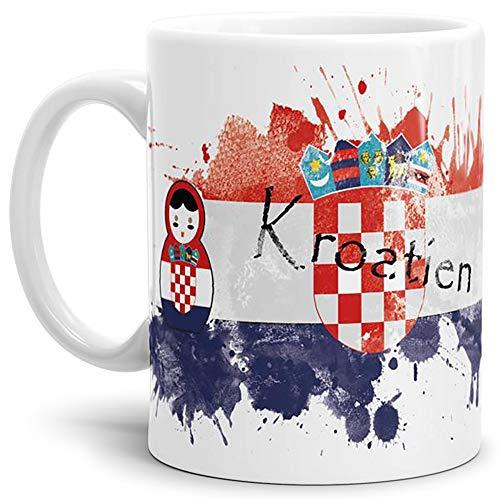 WM-Tasse Matrjoschka Kroatien - Weiss - Fussball-Weltmeisterschaft in Russland/Pokal/Mug/Cup/Becher/Beste Qualität - 25 Jahre Erfahrung