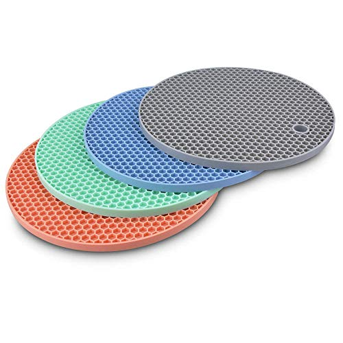 Silicone Trivet Pot Mat Round,Hot Pan Pot Trivet Set Heat Resistant Non Slip Coaster Pot Holder for Kitchen Dining Table BPA Free Honeycomb Large Thick Heavy Duty 7 inch 4 Pack(Grey,Blue,Green,Pink)