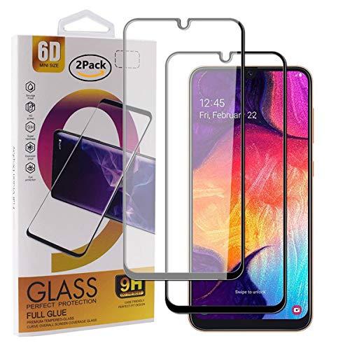 Guran [2 Pezzi Pellicola Vetro Temperato per Samsung Galaxy A50 / A30 / M30 Smartphone Copertura Completa 9H Durezza Anti-Impronte HD Pellicola Protettiva - Nero