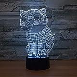 Regalo del lunes de Pascua Cute Cat 3D Lámpara de mesa Niños Juguete Regalo Led Color Lámparas de noche Niños Led USB Lampe Bebé durmiendo
