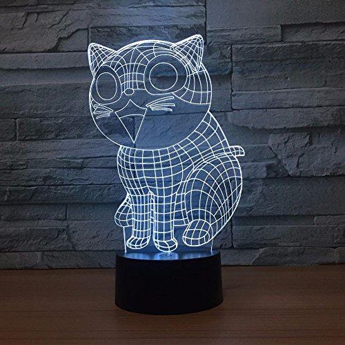 Regalo de lunes de pascua Cute Cat 3d Lámpara led 7 colores Lámparas de noche para niños Touch Led Usb Table Lampara Lampe Baby Sleeping Nightlight han-7342
