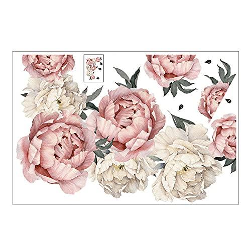 GKYI - Adesivi fai da te per peonie, grandi fiori rosa, adesivi da parete romantici, decorazione da parete per la camera da letto, il soggiorno