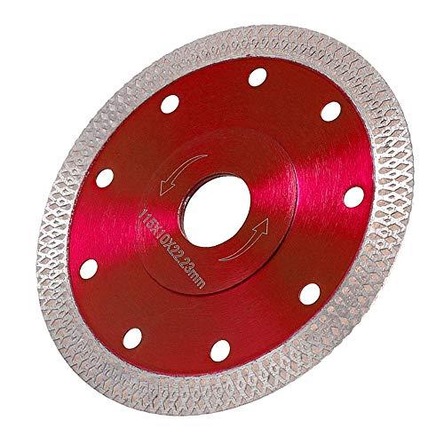 Disco diamantado de 115 mm/125 mm con malla Turbo para cemento armado, granito, piedra natural, ladrillos, corte en seco (rojo 115 mm)