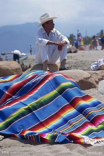 QYM Stranddecke im Ethno-Stil, Wandteppich, Camping, Picknick, Reisen, Flugzeug, Baumwolle, mexikanisch, indisch, handgefertigt, Regenbogen-Decke, 35 x 215 cm