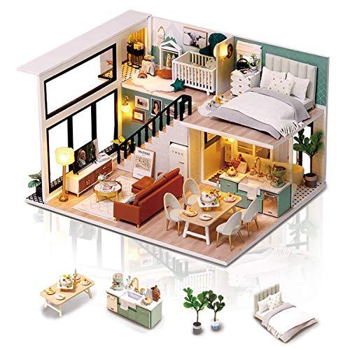 Cuteefun DIY Puppenhaus Miniatur Haus mit Musik und Möbeln Selber Bauen, Bastelset Erwachsene, Handgemachtes Geburtstagsgeschenk für Frauen, EIN Komfortables Leben