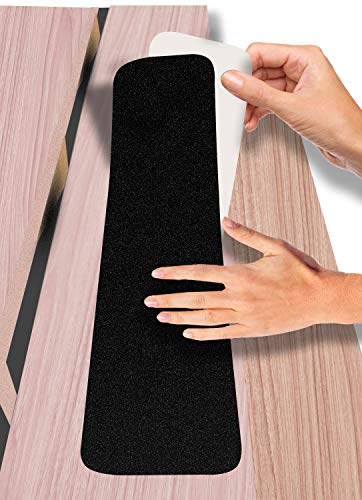 TUPARU 6 in.x 30 in. Stair Treads Non-Slip Outdoor Tape – (11 Pack) Outdoor Stair Treads – Black Pre-Cut Anti-Slip Tape with Easy Separating 3-Layer Design