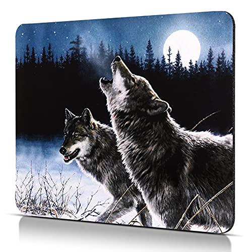 CHUQING Mini tapis de souris, avec motif de loup, taille S (240 x 200mm), pour souris de bureau et de jeu