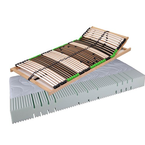 DaMi_Balance Set - Komfortschaum-Matratze Air Balance H2 & 7 Zonen Lattenrost Mit Verstellbarem Kopfteil - 140 x 200 cm