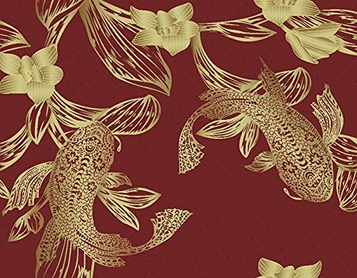 DIY Pintar por Números para Niños Y Principiante Y Adultos,Estera de tabla roja del modelo japonés del modelo de los pescados de la carpa,Regalo Pintura al óleo Conjunto de Kit Lienzo Decor,20' x 16'
