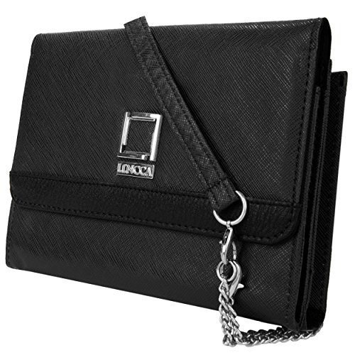 Lencca Nikina Vegan Leather Crossbody Smartphone Clutch Wallet Purse with Removable Chain Shoulder Strap - Black