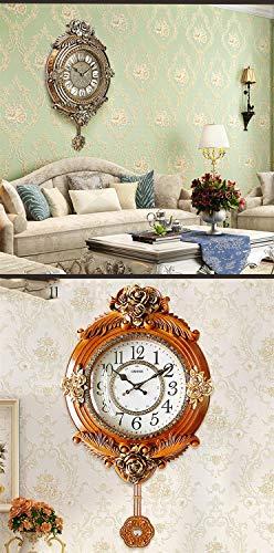 Européen-américain Vintage Horloge Murale Décoration Horloge De Style Européen Horloge Murale Salon Quiet Art Wall Montre Créative Murale (Couleur : C)