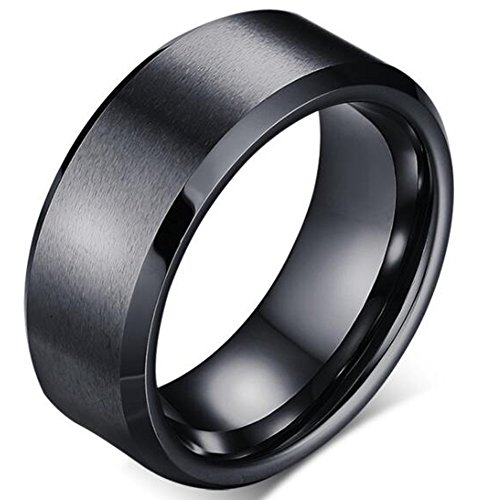 8mm Stainless Matte Brushed Classical Simple Plain Wedding Band Ring (Black, 11)