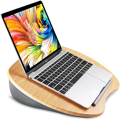 Soporte para portátil con cojín en Cama y sofá, con Orificio para Cable y Tira Antideslizante, se Ajusta a una computadora portátil de hasta 15,6'(Gris)
