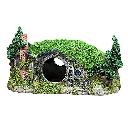 Amakunft Miniatur-Landschafts-Dekoration für Aquarien, Reptilienbox, Unterschlupf, Feenlochhaus, Fischtank-Dekoration, Bücherregal, Tischzubehör
